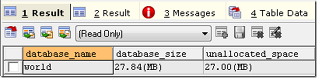 usp_mysql_spaceused resultset 1