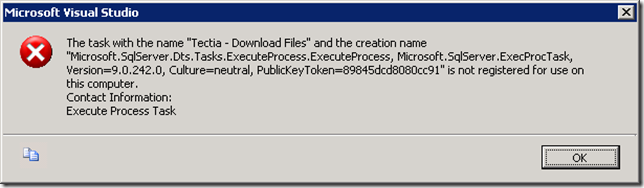 "The task with the name ""Tectia - Download Files"" and the creation name ""Microsoft.SqlServer.Dts.Tasks.ExecuteProcess.ExecuteProcess, Microsoft.SqlServer.ExecProcTask, Version=9.0.242.0, Culture=neutral, PublicKeyToken=89845dcd8080cc91"" is not registered for use on this computer"