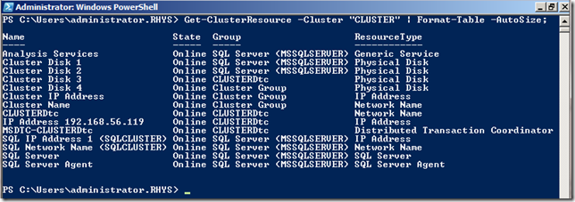 Resources in a Failover Cluster via Powershell
