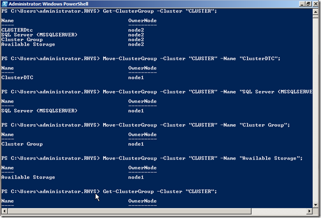Moving Cluster Resource Groups with Powershell