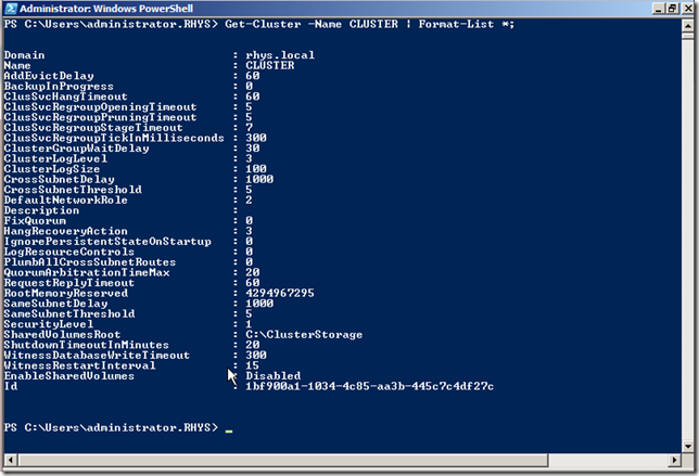WIndows Powershell showing Failover Cluster details