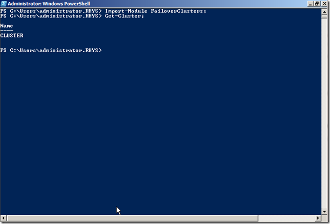 Windows Powershell command to list clusters in a domain