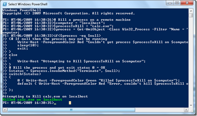 Kill processes on remote computers with Powershell