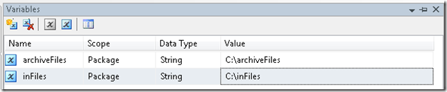 ssis variables for archiving files